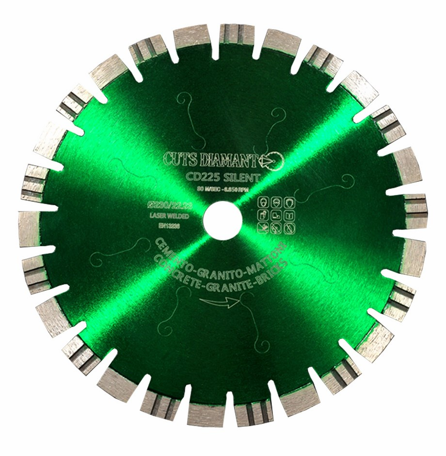 Silent diamond blade for cutting granite and concrete
