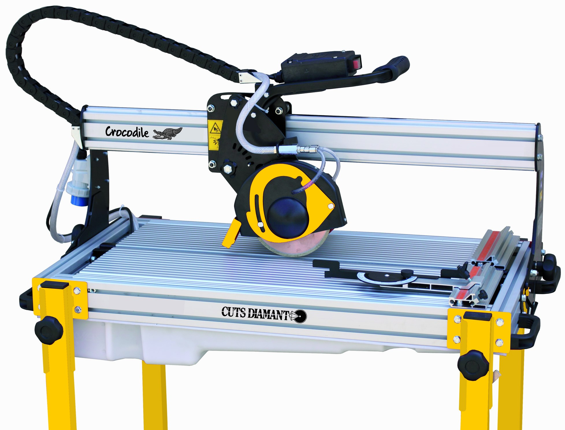 Radial sawing machine for cutting tiles